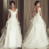 The latest wedding dress and shoulder Lace Waist wedding natural Punta A word skirt the princess in the church  LF441