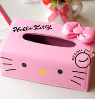 W054 three-dimensional bow hello kitty leather tissue box cute KT cat big bow PU pumping paper tissue box