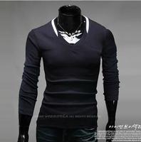 New Slim Fit Cotton Stylish V-Neck Long Sleeve Casual Men's T-Shirt Tops Black. White, Light Gray. Coffee 3466 Free Shipping
