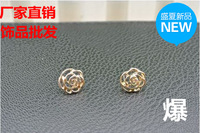 Accessories 2014 brief camellia gold plated earrings female