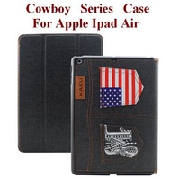Three Folding Folio Cowboy Case For Apple Ipad Air with Sleep/Awake Function Ultrathin Fashion Cozy Four Colors Free Shipping