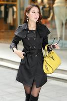 2014 new winter coat trend European style double-breasted shawl lapel temperament ladies windbreaker jacket woman
