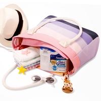 Fashion brand Mummy big size Bags multifunctional nappy changing  messenger bag rainbow striped diaper handbag  AB201