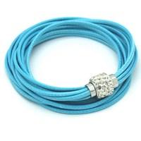 Hot Popular Double Loop Wrist Strap Buckle Cuff Bracelet With Clear Rhinestone Bracelet 12 Color Optional