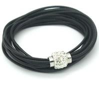 Free Shipping!1 PC Black  Leather Wristbands Double Circle Magnetic Buckle Cuff Retro Rhinestone Bracelet