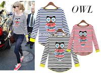 202014 Autumn New Tops, Hot  in Europe and America Joker Tees, Striped Long-sleeved Women's shirt owl pattern t-shirt for women