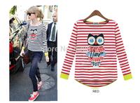 Retail 1pcs New Tops, Hot  in Europe and America Joker Tees, Striped Long-sleeved Women's shirt owl pattern t-shirt for women