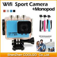 Gopro Hero3 Style FHD 1080P AT200 Wifi RF Remote Control Helmet Sports Camera 30M Waterproof sport dv + 1pcs Gopro Monopod