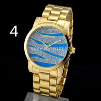 Free Shipping 2014 New Fashion Kors Watches Men Luxury Brand Quartz Watch Gold Steel Ripple Shape  Women Dress Watch 6 Color