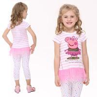 children t shirt 2014 new nova baby girls peppa pig tunic top T-shirt kids short t shirt summer short t shirt for baby girls LU1