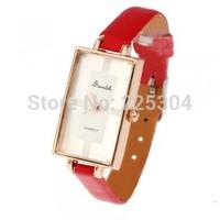 Free Shipping 5pcs Women Quartz Wristwatch Wrist Watch Red PU Leather Band Strap Rectangle Dial