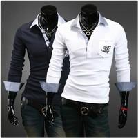 2014 European and American Style Dragon pattern long sleeve Free shipping Brand shirt t shirt for men O-neck Fashion T shirt