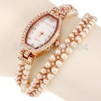 Free Shipping 5pcs Women Quartz Wristwatch Bracelet Rose Gold Tone Alloy Imitation Pearl Band Strap