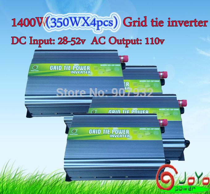 1400watt (350Wx4pcs) Grid Tie Inverter for Solar Panel 28V-52V DC, 110V, High Efficiency, Free Shipping) factory hot sale!!(China (Mainland))