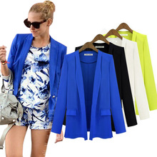 fashion ladies new 2014 Blazer womens white Korean solid casual OL black loose suits for women blazers and jackets blue 22158(China (Mainland))