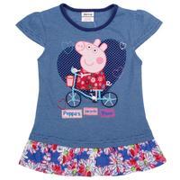 peppa pig girl t shirt 2014 nova kids clothing outwear beautiful floral summer cotton short sleeve navy T-shirt for girls K4722