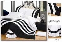2014 New arrival 4pcs bedding sets black and white solid color quilt/ duvet cover stripes bed sheet bed linen