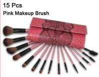 New 2014 Professional 15 pcs Pink Prictice Make Up Brushes Facial Cosmetics Kit Brand Makeup Brush Set Tools+Snake Pattern Case