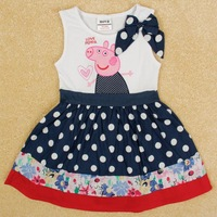 Printed beautiful flowers  summer short sleeve cotton party dress for baby grils H5000