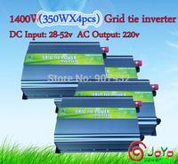 1400watt (350Wx4pcs) Grid Tie Inverter for Solar Panel 28V-52V DC, 220V, High Efficiency, Free Shipping) factory hot sale!!