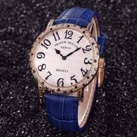 Luxury Woman Ultra-thin Quartz movement Water Resistant Colorful Diamond Wrist Watch Vintage leather Strap Classic Frank Watch