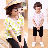 2014 New Cotton Children's set Polka Dot Tee Harem Short