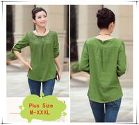 2014 Autumn New Fashion O-neck Long Sleeve Women T-shirt Plus Size Embroidery Linen Base Shirt M-XXXL Free Shipping