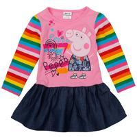 NOVA kids wear fashionable lovely peppa pig embroidery long sleeve baby girls dress H4235