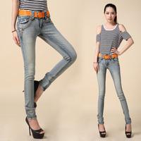 2014 Autumn Mid Waist Patchwork Tight-Fitting Denim Jeans Female Skinny Pants Trousers Slim Elastic Lace Pencil Pants