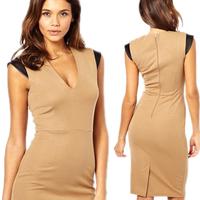 2014 New Summer Women Elegant OL Short Sleeve V-neck Career Back Zipper Knee-Length Party Casual Pencil Dresses CD1360