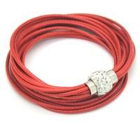 Sales The Best Red Leather Bag Wristbands Cuff Punk Magnetic Buckle Rhinestone Bracelets Bracelets