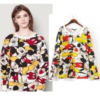 Mickey printed sweatshirt women 2014 new autumn fashion casual cartoon print  Sweatshirts free shipping