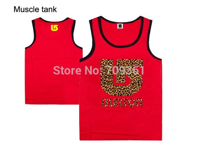 ouro nova da chegada ginásio tops burton marca de roupa fitness musculação colete sem mangas muscular camisa vermelha(China (Mainland))