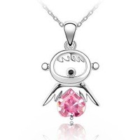 Pink fashion jewelry White Gold Plated Lucky Baby Crystal Necklace CYE610-4