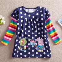 peppa pig children t shirt nova Baby Girls long sleeve tunic top with embroidery autumn -summer cotton t shirt  for girls F2178
