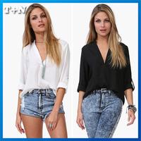 New 2014 Autumn -Summer Europe style Chiffon shirt  Ladies casual Shirt Long Sleeve loose shirt