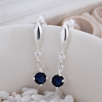 Promotion!Wholesale 925 sterling silver insets blue crystal earrings fashion jewelry Stud earring Earring for women jewelry E445