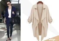 [R-84] 2014 European and American star models New winter Solid Turn-down Collar Slim Long Chiffon coat jacket Free shipping