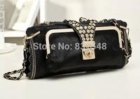 free shipping 2014 fashion  style black color Genuine leather shining stone  Evening Bag women party handbag NO B165