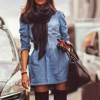 Jeans Dresses 2014 Vintage Autumn Winter Long-sleeve Slim Casual Denim Dress Women Plus Size Vestidos Free Shipping WQL1461
