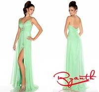 RBC765 2014 hot Selling Mint Green Deep V Neck Spaghetti Straps Summer Long Prom Dresses Chiffon Robe De Soiree