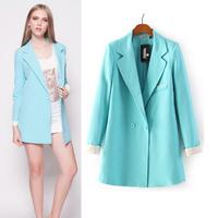 Candy women blazer long slim casual blazers high street  2014 new fashion autumn jacket coat Blazers free shipping