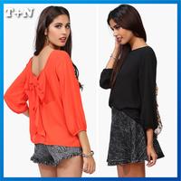 New 2014 Fashion Chiffon Blouses Ladies Casual Backless Shirt Sleeve Shirt
