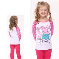 Hot sale fashion nova kids baby girls lovely peppa pig embroidery  autumn long sleeve t-shirt F4323