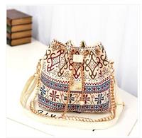 2014 new national Ethnic fashion pearl chain bucket bag shoulder bag Messenger bag tide for women