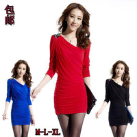 2014 autumn slim hip slim long-sleeve women's beading gauze tight-fitting sexy plus size one-piece dress/3color/free shipping
