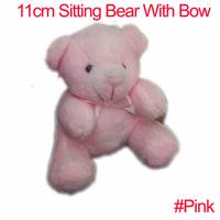 #Pink 11cm Cartoon Plush Sitting Bear Witb Bow Plush Dolls Craft Key/Phone/Bag/Applique/cute/baby Stripes,4color Mixed 20pcs
