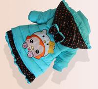 2014 winter children silk cotton coat for girls,3D animal fox pattern & dot bow hat  jacket coat , children clothingLT-002