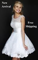 E1 2014 fashionable white short bride lace wedding dress dresses bridal gown gowns plus size ivory vestido de noiva