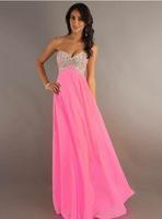 Fashion Bride Pink Chiffon Long Evening dress green Sexy Strapless vestidos de festa vestido longo prom dresses 2014 gown E41